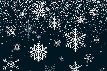 Falling snow and Snowflakes. Winter background. Merry Christmas Illustration