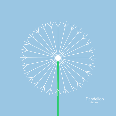 Dandelion - Vector icon. Summer flower. White dandelion with a green stalk on a blue background in a flat style. Vector illustration