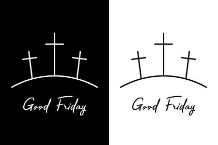 Good friday. Three crosses on the mountain Stock Illustratie