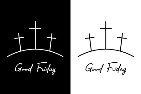 Good friday. Three crosses on the mountain Ilustração