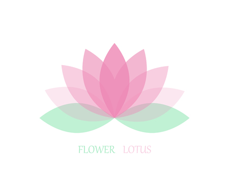 Lotus flower in flat style, pink and green color. Vector icon. eps 10 Illustration