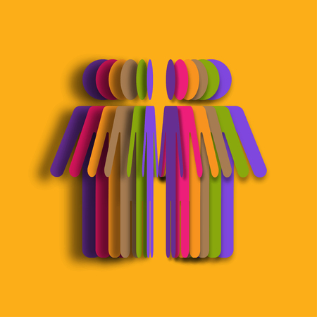 Colorful Paper art of people. 3d illustration paper people. Vector illustration