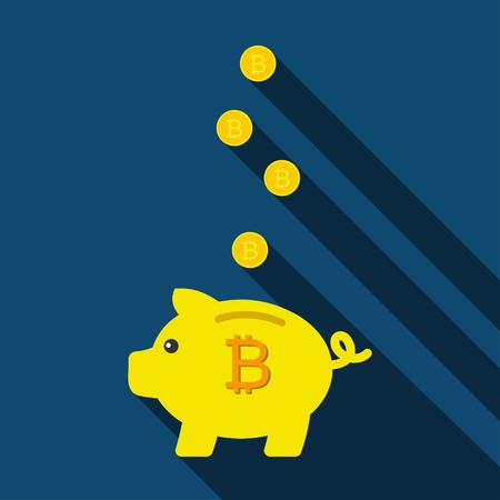 Piggy bank for saving coins. Pig Piggy bank with bitcoins. Vector illustration Illustration