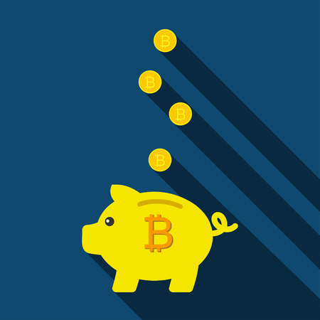 Piggy bank for saving coins. Pig Piggy bank with bitcoins. Vector illustration Illustration
