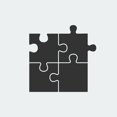 Puzzle - Vector icon. Set of four black piece puzzle on white background Vectores