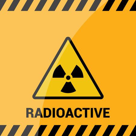 Radioactive zone, vector sign or symbol. Warning radioactive zone in triangle icon isolated on yellow background with stripes. Radioactivity. Dangerous Illustration