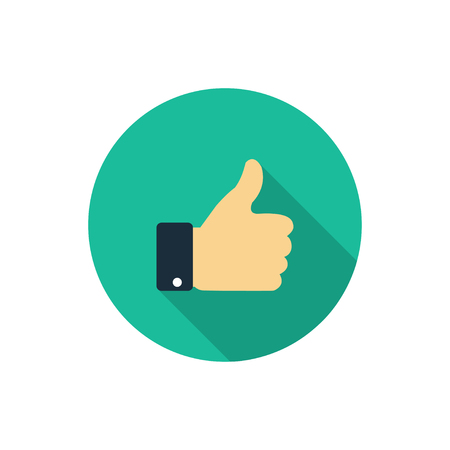 Flat like icon. Thumb up symbol with shadow. Finger up Illustration