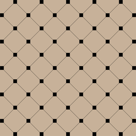 Geometric illustration. Black Squares with lines on brawn background. Abstract seamless pattern background