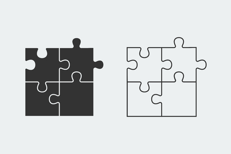 Puzzle - Vector icon. Set of four black piece puzzle and line piece puzzle on white background