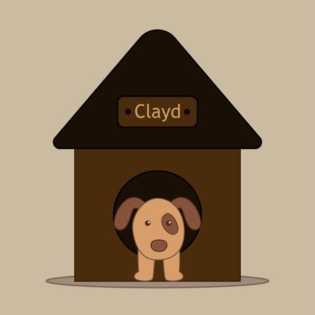 Dog in dog house. Vector illustration in flat design