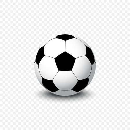 Soccer ball. Realistic football ball or soccer ball with shadow on transparent background. Football ball icon. 일러스트