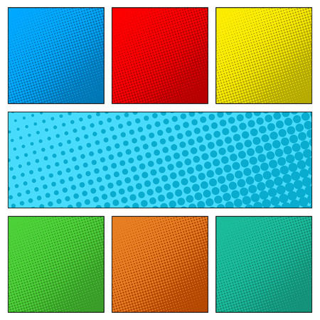 Set of colorful retro comic book page background. Halftone effect