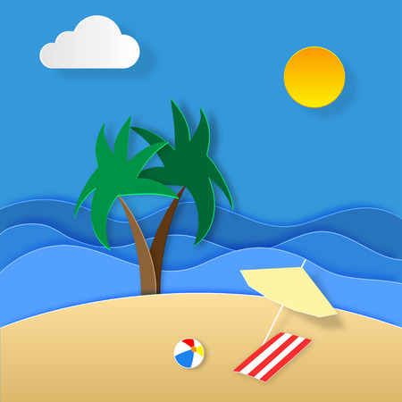 Paper art of summer holidays. Illustration of holiday on the islands. Palms. Sea. Beach ball. Sand. Sun and clouds. Umbrella and bedspread