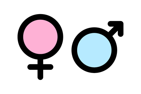 Sex icons. Male and female signs. Gender symbols Vettoriali