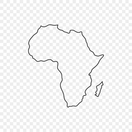 Kaart Afrika pictogram in lijnstijl op transparante achtergrond