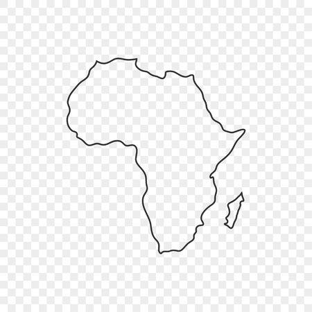 Map Africa icon in line style on trasparent background