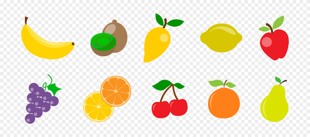 Fresh juicy fruit and berries in flat style on transparent background Ilustração