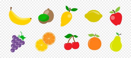 Frutta e bacche succose fresche in stile piatto su sfondo trasparente