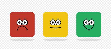 Bewertungs-Emoji. Feedback-Vektor-Konzept. Feedback in Form von Emotionen, Smileys, Emoji