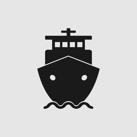Ship vector icon in flat style