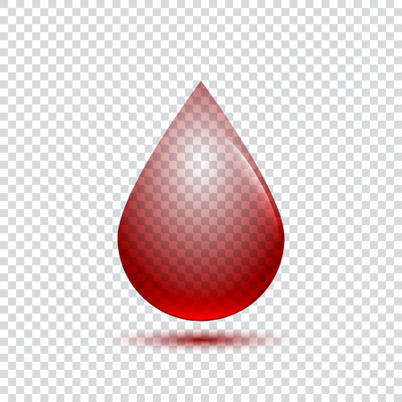 Realistic blood drop with shadow on transparent background Illustration