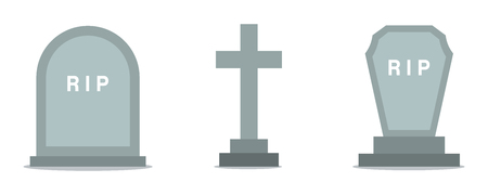 Set of grave icons in flat design
