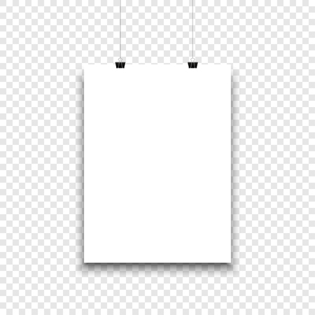White paper sheet hanging on isolated background