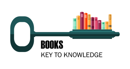 key to knowledge. logo. key with books