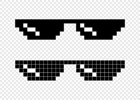 Lunettes pixel 8 bits sur fond transparent