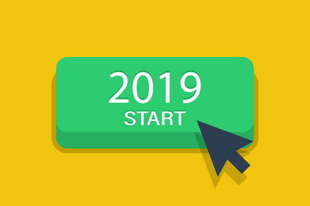 Start 2019 year button with arrow. 2019 year pig. Concept of new year