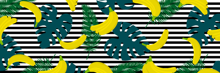 Banana with tropical lief background. Seamless pattern with tropical palm leaves and bananas