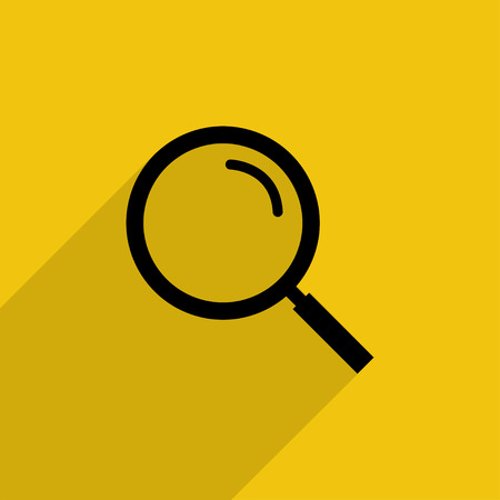 Black magnifying glass with shadow in flat style, vector icon on yellow background