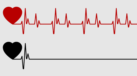 Red and black heart with palpitation. Red heartbeat, line of life and black heartbeat, line of death