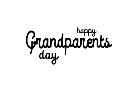 text : Happy Grandparents Day on white background