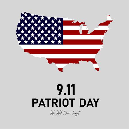 9/11 Patriot Day in de VS. We zullen nooit vergeten. 11 september. Patriot Day poster of het spandoek. Amerikaanse vlag Vector Illustratie