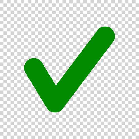 Groen vinkje pictogram geïsoleerd op transparante achtergrond Vector Illustratie