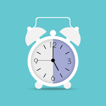 Clock icon in trendy flat style. Alarm clock, wake - up time. White clock with shadow on blue background