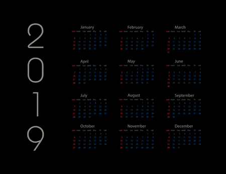 2019 new year. Calendar on 2019 year. Template calendar 2019 year. January. February. March. April. May. June. July. August. September. October. November. December
