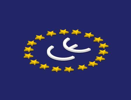Vector CE mark, Vector CE symbol on flag Europe. Isometric design Ilustração