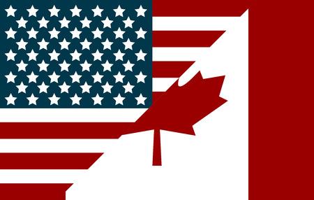 Bandiere di Stati Uniti e Canada. Bandiere in stile piatto Vettoriali