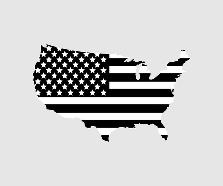 USA map with flag USA in black color on gray background. flat design