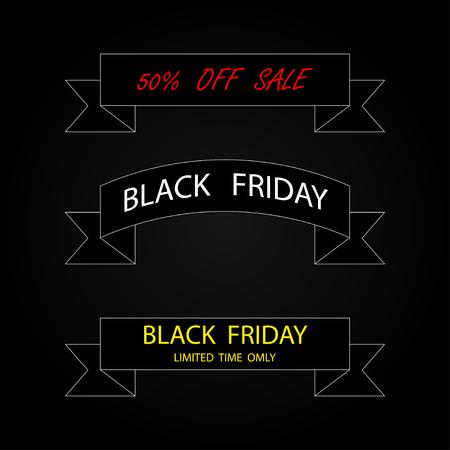 Three ribbon banners Black Friday Sale. Black ribbon banners Black Friday sale. 50 off sale. Line design