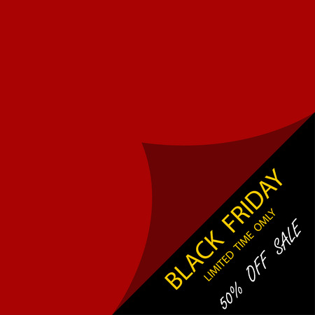 Black Friday Sale. Template to day Black Friday sale. Realistic red curled corner with shadow on black background
