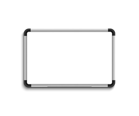 White marker board. Whiteboard. White board with shadow on blank backgound Illustration