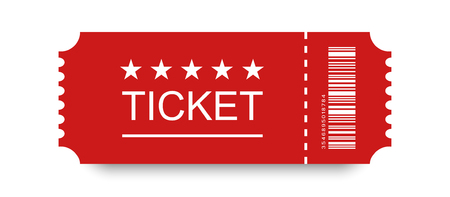 Red ticket vector icon with shadow on blank background.