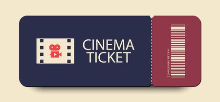 Cinema ticket vector icon with shadow