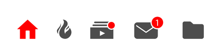 template icons for your design. incoming, library, subscriptions, trending home Eps10 Illustration