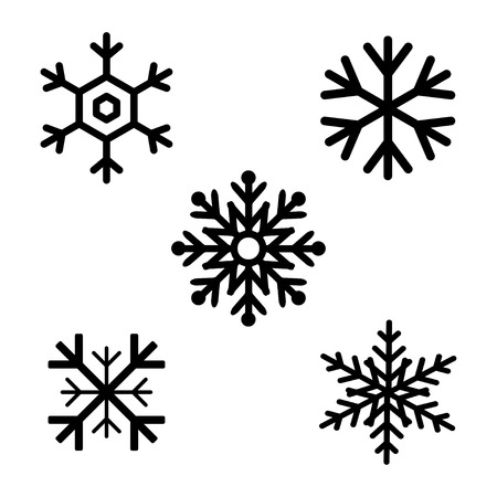 Set Of Black Snowflakes Icons Black Snowflake Snowflakes Template
