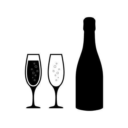 Icone di bicchieri di champagne con bottiglia di champagne. Set di bicchieri di champagne. Eps10