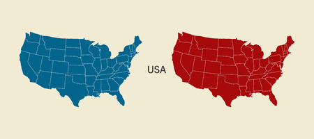 USA map in blue and red color. Modern Map. USA with federal states. Eps10 Illustration